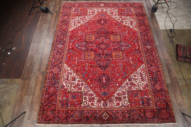"Consigned, Heriz Geometric Hand-Knotted Persian Style Area Rug, Red, 13'7""x9'11"""