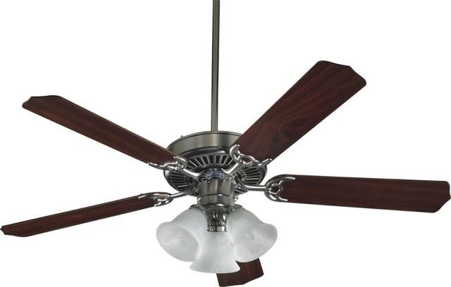 Three Light Satin Nickel Ceiling Fan.