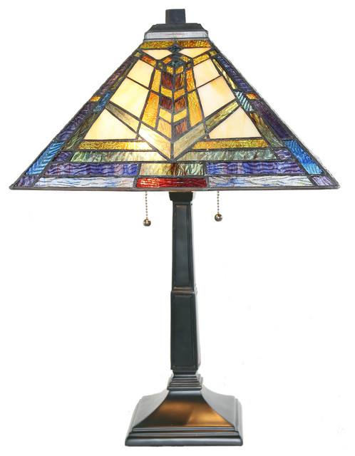 """23"""" Mission Style Stained Glass Colors Of A Kaleidoscope Table Lamp."""