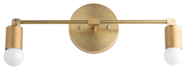 Mid-Century Raw Brass 2-Bulb Vanity Light.