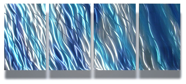 Blue Metal Wall Art metal wall art decor abstract contemporary modern sculpture- reef