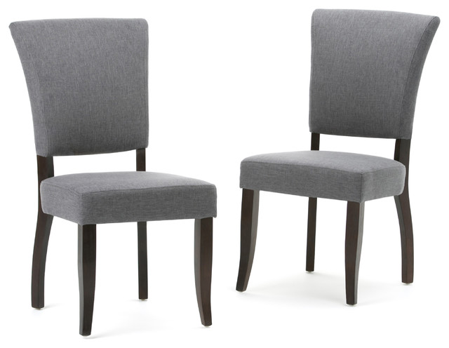 Joseph Linen Look Fabric Deluxe Dining Chair, Slate Gray, Set Of 2.