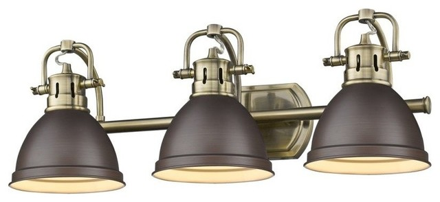 Duncan 3-Light Vanity, Chrome With Black Shade