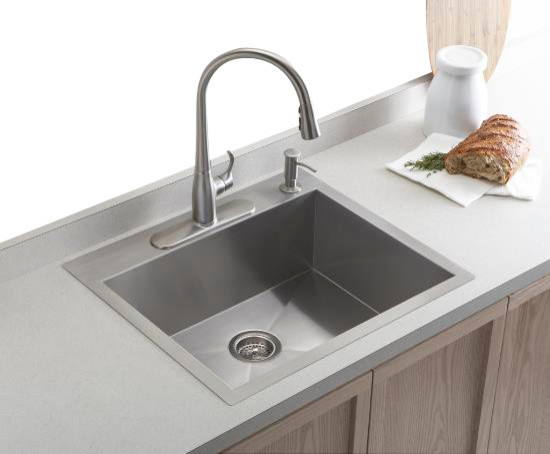 contemporary kitchen sinks undermount kohler k 3822 4 na vault top mount undermount single bowl 5731