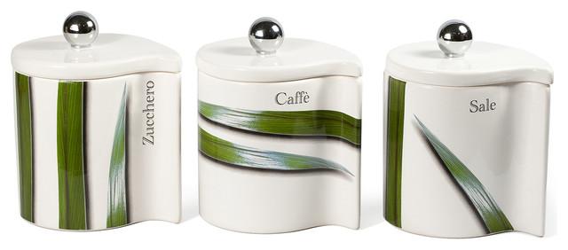 Modern Kitchen Jars vivere full green 3 piece canister set - modern - kitchen