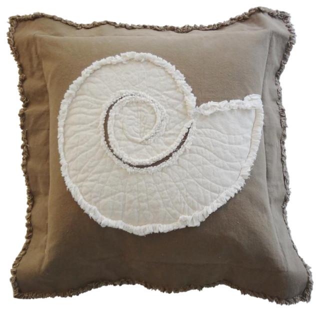 Coastal Inspired Throw Pillows : Coastal Nautilus Throw Pillow - Beach Style - Decorative Pillows - by Sandy by the Sea Designs