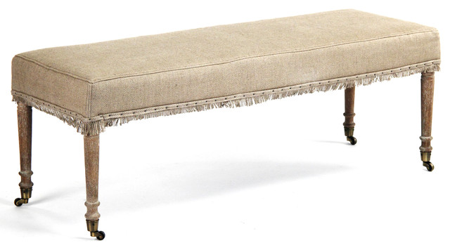 Alfreda French Country Burlap Limed Oak Wood Bench