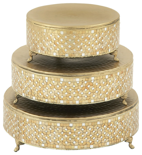 Gustaff 3-Piece Metal Mosaic Cake Stand Set - Traditional - Dessert ...