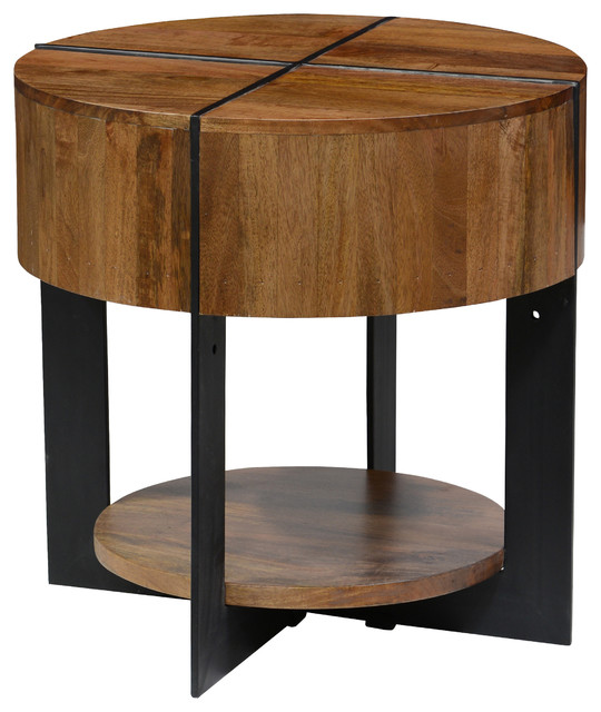 Raymond Round End Table By Kosas Home Industrial Side Tables And End Tables By Kosas