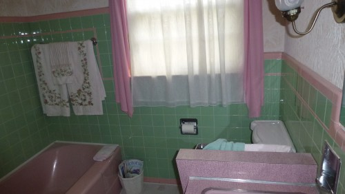 Perfect Green And Pink Vintage Bathroom