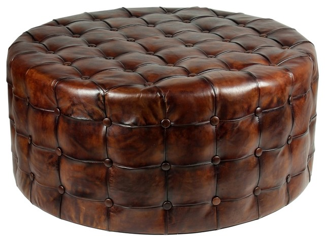 Astounding 36 Round Ottoman Top Grain Tufted Buttery Leather Vintage Brown Special Machost Co Dining Chair Design Ideas Machostcouk