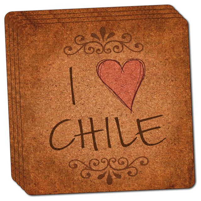 I Heart Love Chile Vintage Thin Cork Coaster Set Of Contemporary - Cork coaster bottoms
