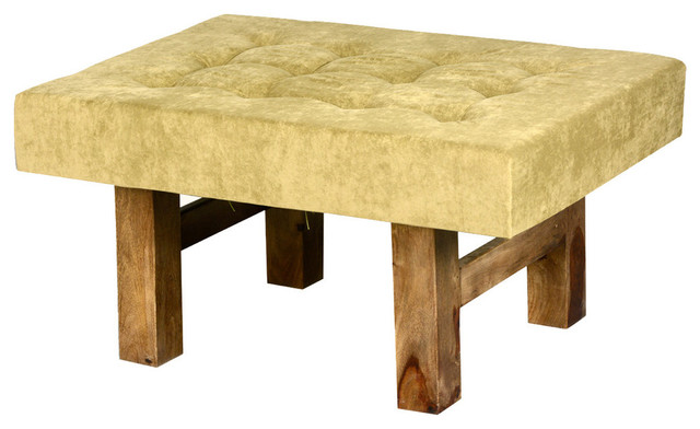 Contemporary Solid Wood & Tufted Fabric Coffee Table Ottoman