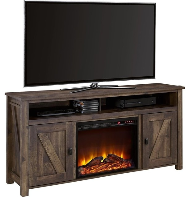 Altra Furniture Farmington 60 Fireplace Tv Stand Heritage Pine Transitional Entertainment
