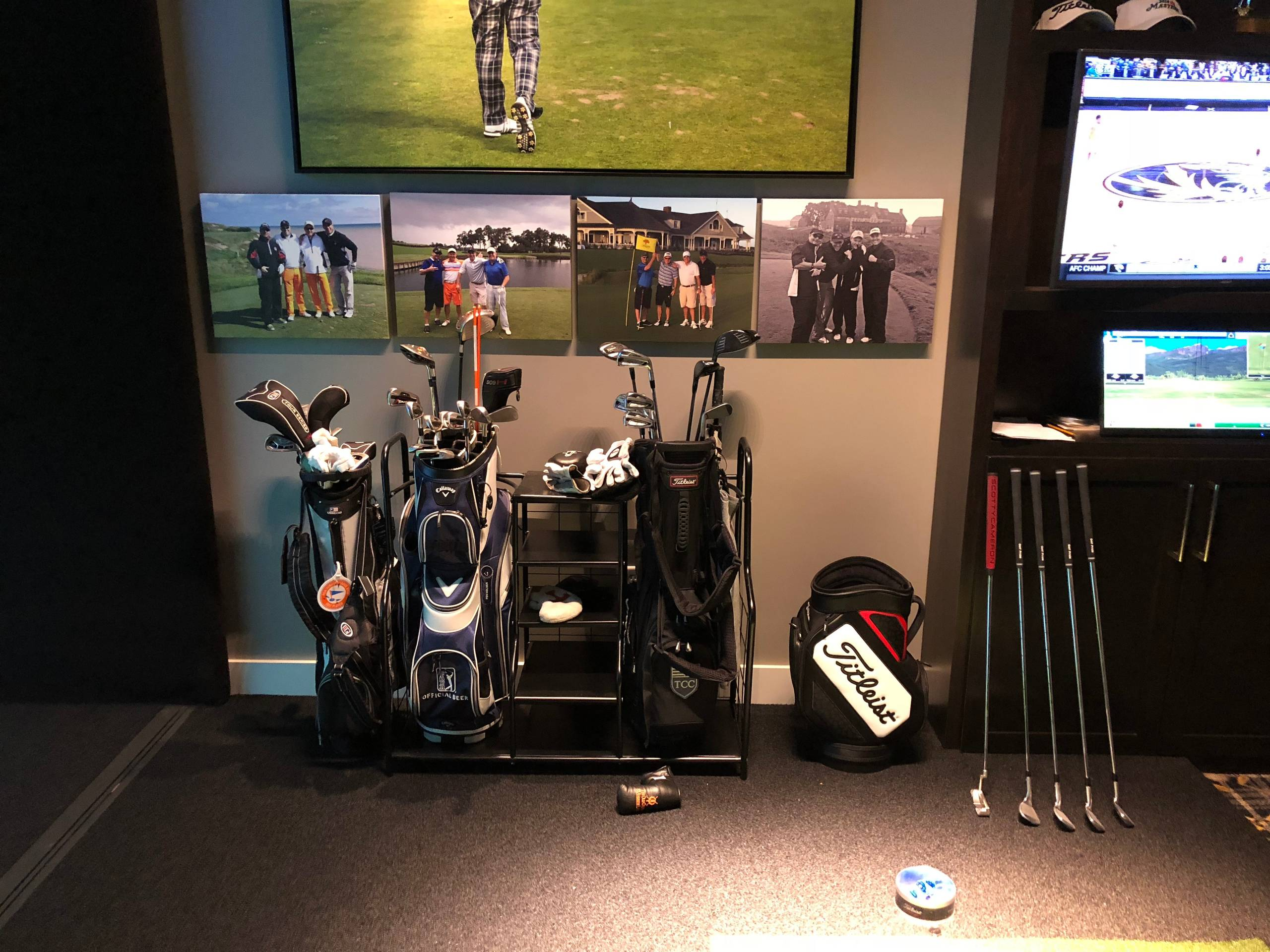 Golf simulation room - garage conversion
