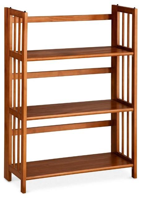 3 Shelf Folding Stackable Bookcase In Chestnut Finish