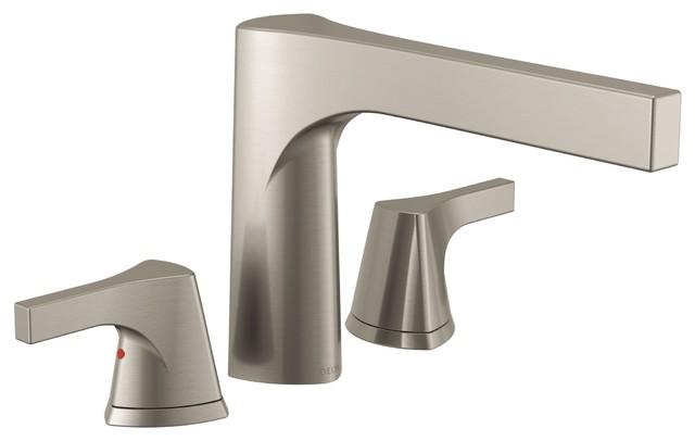 Delta Zura Stainless Steel Finish Roman Tub Filler Faucet