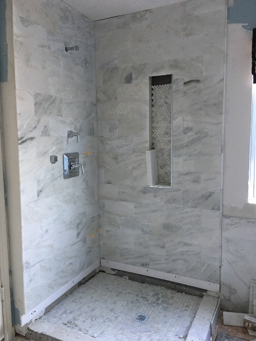 Master Bathroom Remodel Mixing Carrara Marble And Wood Or Porcelain