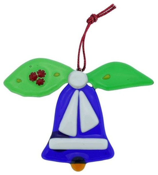 Murano Glass Bell Christmas Ornament Blue