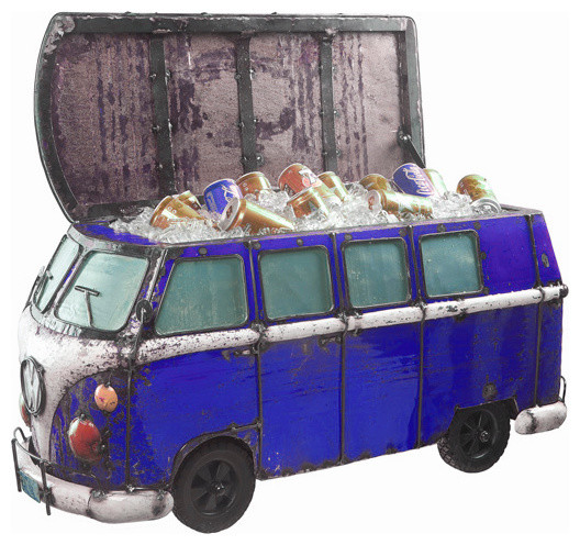 Think Outside Blue Kombi Handmade Scrap Metal Functional Beverage Cooler.