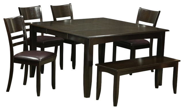 6-Piece Kitchen Table Set, Table With Leaf and 4 Kitchen Chair Plus Bench