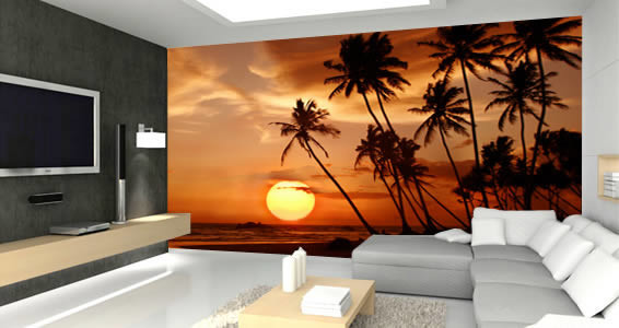 Sunset Beach Removable and Reusable Wall Mural Tropical Wall