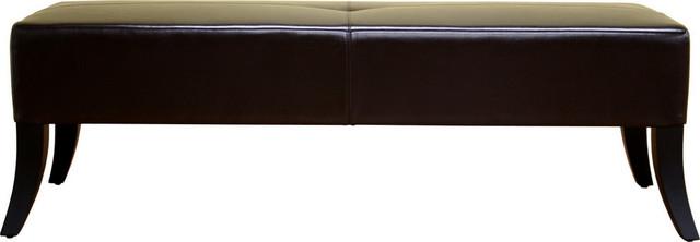 Baxton Studio Danilo Dark Brown Leather Bench.