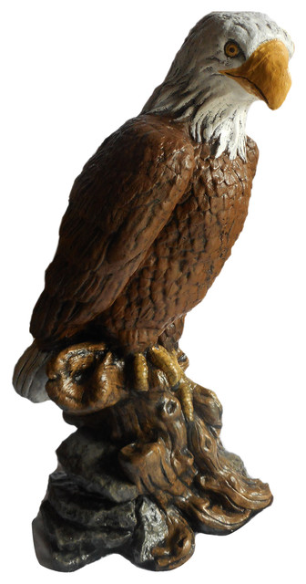 Attractive Eagle On Wood Concrete Statue In Detail Painted Finish Traditional Garden  Statues And
