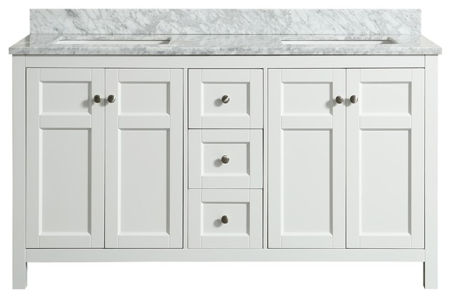 Adley White Bathroom Vanity With Marble Top, 61''