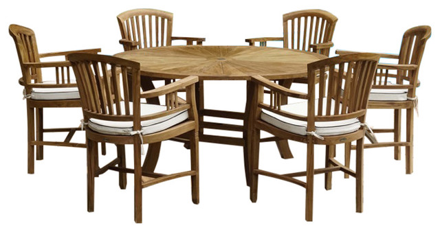 7 Piece Teak Wood Sun Table Chair Set With Cushions Transitional Outdoor Dining Sets By Chic Teak