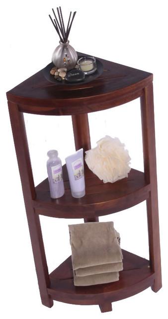 3 Tier Spa Teak Corner Shower Shelf Contemporary Bathroom Cabinets And
