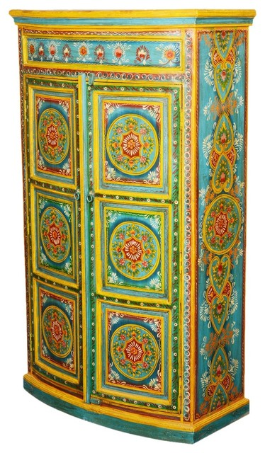 Magnificent Two Door Hand Painted Authentic Indian Wardrobe Armoire  Craftsman Armoires And