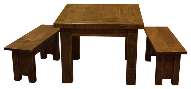 rustic barn wood style timber peg table set and