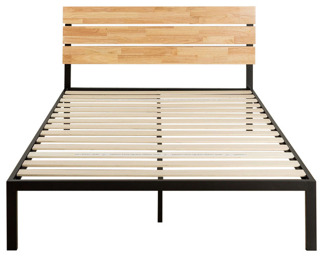 Queen Modern Wood And Metal Platform Bed Frame With Headboard.