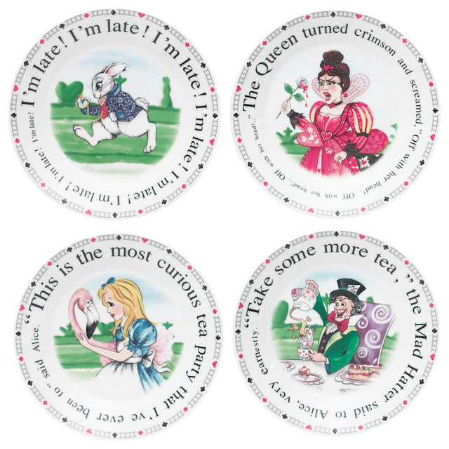 Alice in Wonderland Assorted Designs Dessert Plates Set of 4  sc 1 st  Houzz & Alice in Wonderland Assorted Designs Dessert Plates Set of 4 ...
