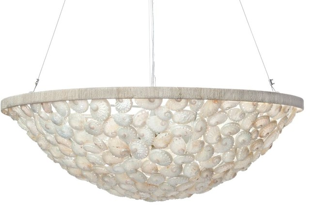 Abalone Seas Bowl Pendant Lamp Diameter 28 X 12 Inch Pearlescent White