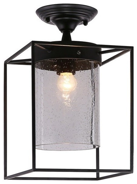 Industrial Flush Mount Lamp With Matte Black Metal Box