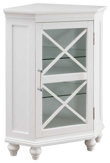 Elegant Home Fashions Blue Ridge Corner Floor Cabinet White Traditional Bathroom Cabinets