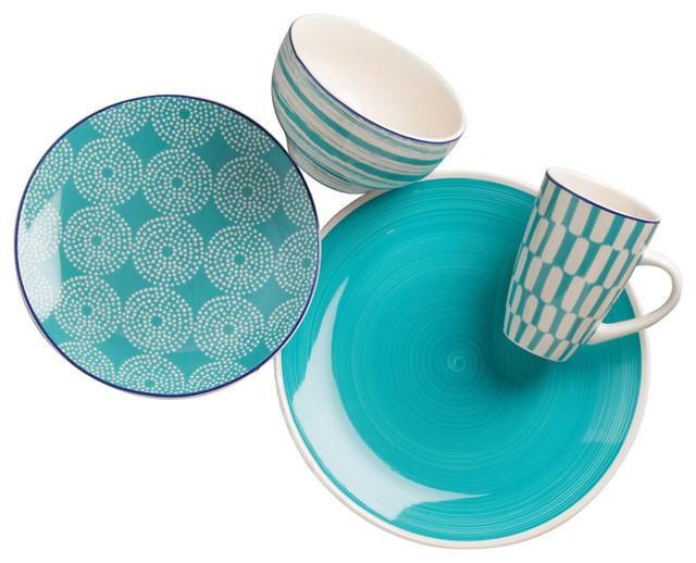 euro ceramica simpatico dinnerware 16 piece turquoise sets - Modern Dinnerware