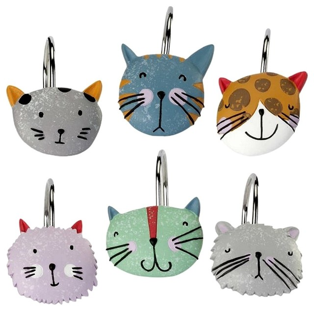 Happy Cats Shower Curtain Hooks 12 Pc Steel