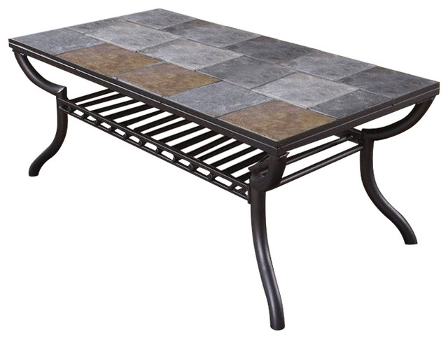 Ashley Antigo Slate Tile Rectangular Coffee Table In Black Transitional Coffee Tables By