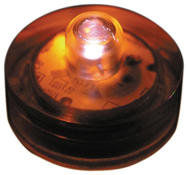 Lumabase Luminarias Led Battery Operated Submersible Lights, Set Of 12, Orange.
