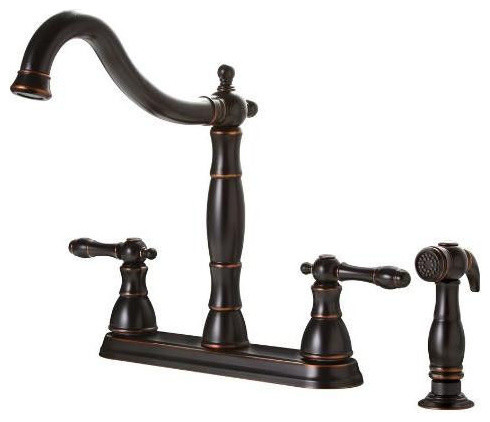High Quality Premier Oil Rubbed Bronze Antique Style 4 Hole Kitchen Faucet W/ Side Spray  Traditional