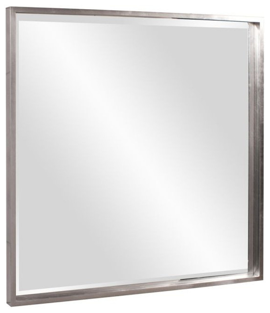 "Colmar Bright Nickel Shadowbox Frame Mirror 40""x40""x2"". -1"