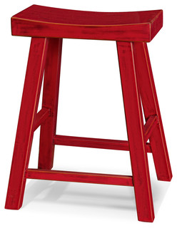 Elmwood Zen Stool, Red