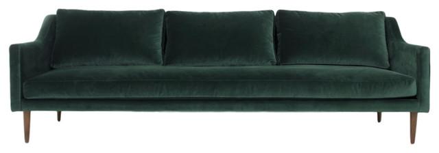 Naples Sofa, Hunter Green Velvet Modern Sofas