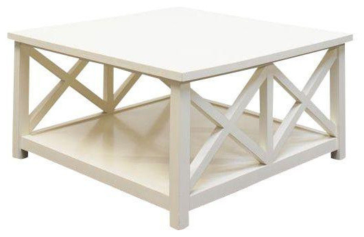 X Design Coffee Table In Cream Lacquer   $399 Est. Retail