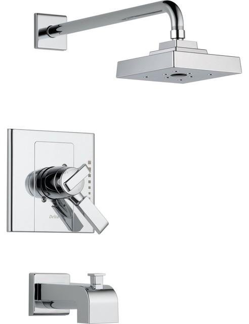 Delta arzo chrome dual control modern tub and shower - Delta contemporary bathroom faucets ...