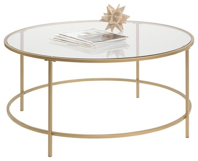 Lux Round Coffee Table In Satin Gold, Round Metal Coffee Table With Glass Top
