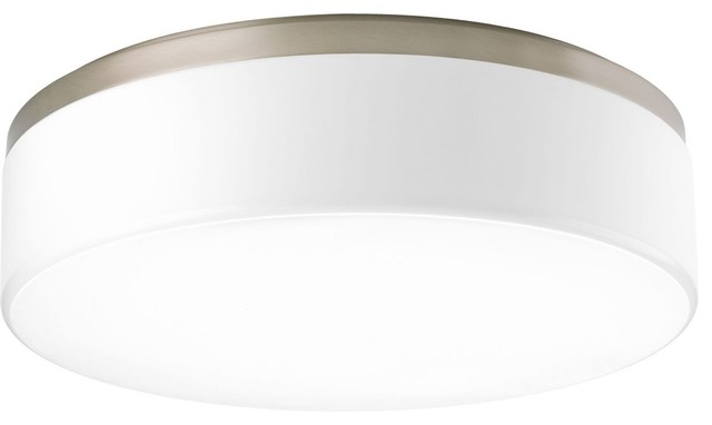 Progress Lighting 3-Light Flush Mount White Acrylic Diffuser, Brushed Nickel.